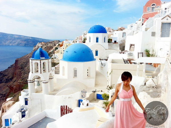 ErikaToh-Backpacking-In-Style-Iconic-Three-Blue-Domes-Oia-Santorini-4