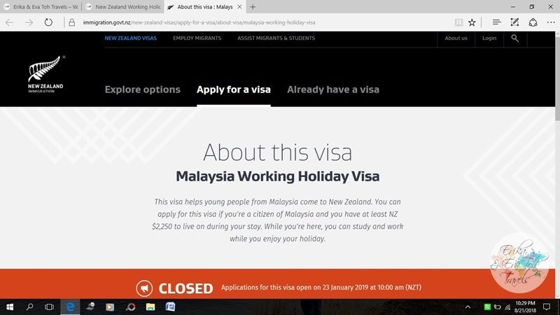 New Zealand Working Holiday Visa for Malaysians : Step-by